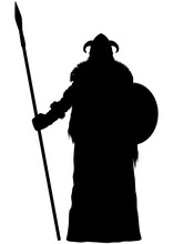 Viking Spearman Silhouette/ Illustration Stylized Nordic Warrior With A Spear And A Shield