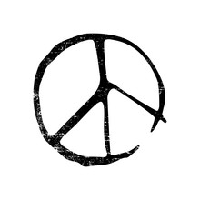 Grunge Sign Of Peace. Black And White Imprint.