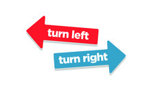 Turn Left And Right Arrows In Opposite Directions