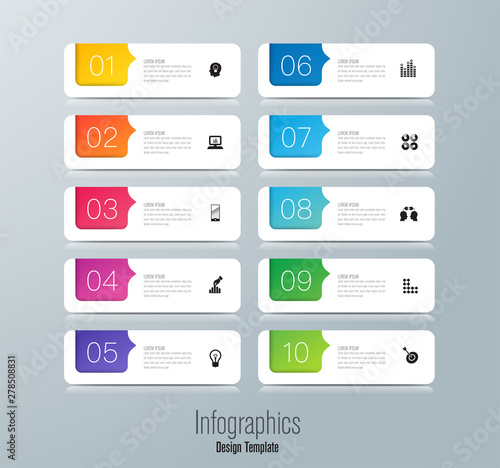 Infographics design paper art style and business icons with 10 options Canvas Print