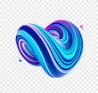 3D Colorful abstract twisted fluide shape. Neon Trendy liquid design