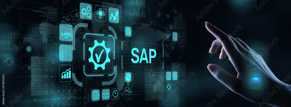 Fototapety, obrazy: SAP - Business process automation software. ERP enterprise resources planning system concept on virtual screen.