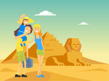 Happy Family Traveling And Sightseeing In Egypt, Smiling Mother, Father And Daughter Posing Near Egyptian Pyramid Vector Illustration