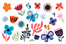 Abstract Decorative Flowers, Plants And Butterflies Collection, Cut Out Paper Style