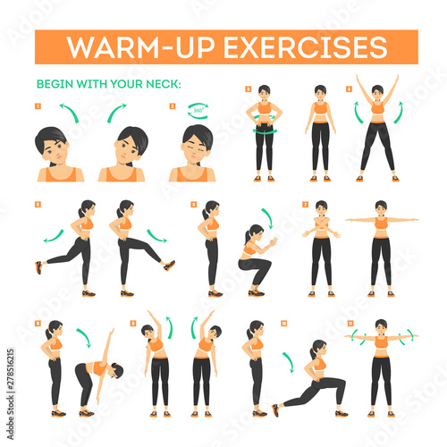 Fototapeta Warm-up exercise set before workout. Stretch muscles obraz