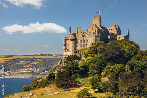 St Michael's Mount Marazion Cornwall England medieval castle in Mount's Bay on a Tableau sur Toile