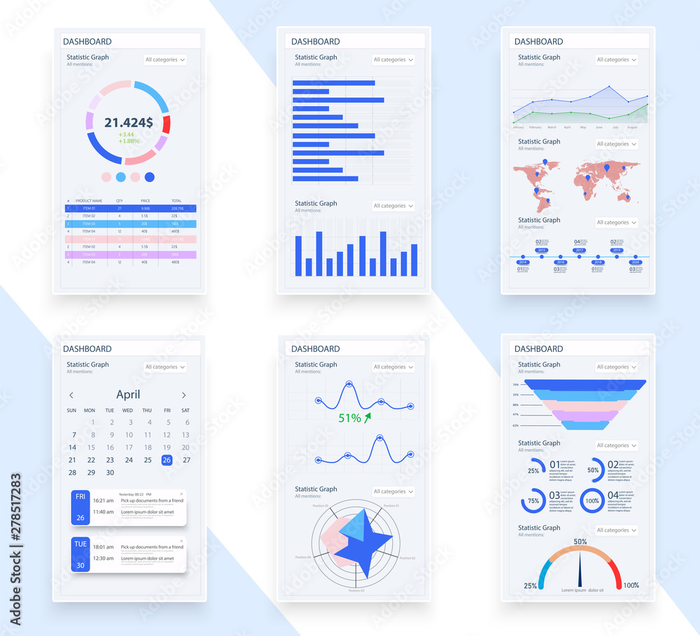 Fototapety, obrazy: Presentation Template design. Business data graphs. Vector financial and marketing charts.