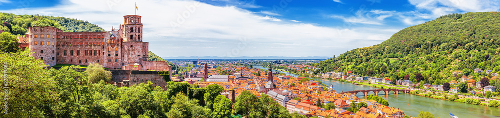 Fototapety, obrazy: Heidelberg, Germany, aerial panoramic view with the castle, Neckar river and the Old Bridge
