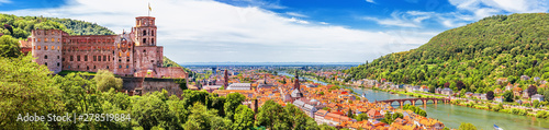 Heidelberg, Germany, aerial panoramic view with the castle, Neckar river and the Canvas Print