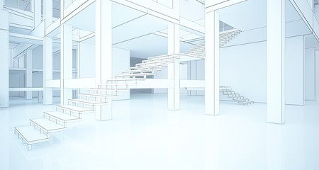 Abstract architectural white interior of a minimalist house with large windows. Drawing. 3D illustration and rendering.