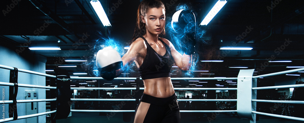 Fototapety, obrazy: Sportsman, woman boxer fighting in gloves. on ring. Boxing and fitness concept.