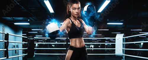 Sportsman, woman boxer fighting in gloves. on ring. Boxing and fitness concept. - 278520858