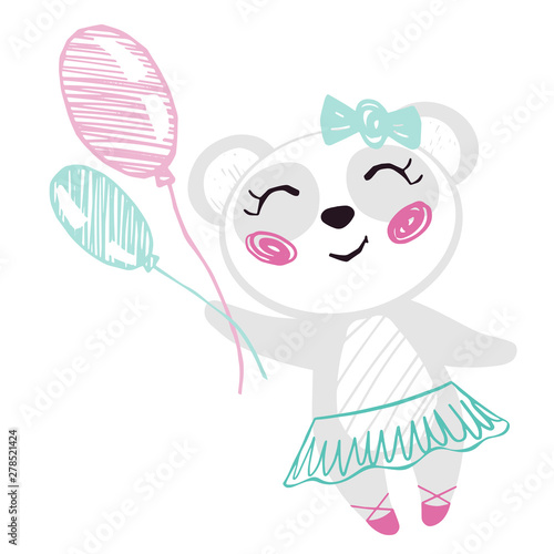 Fotografie, Obraz Panda baby girl cute print