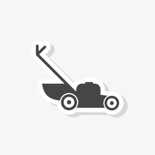 Lawn Mower Sticker. Simple Illustration Of Lawn Mower Icon