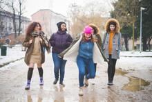 Group Of Young Women Walking I...