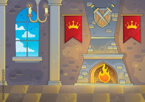 Poster de jardin Enfants Castle interior theme background 1