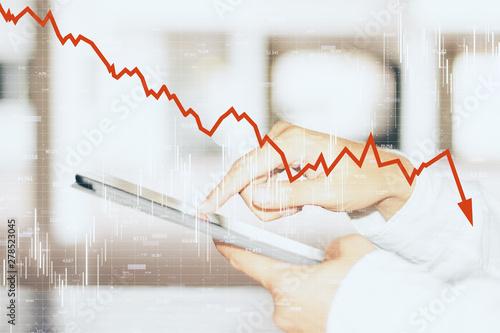 Fotografía  Decrease, internet and trade concept