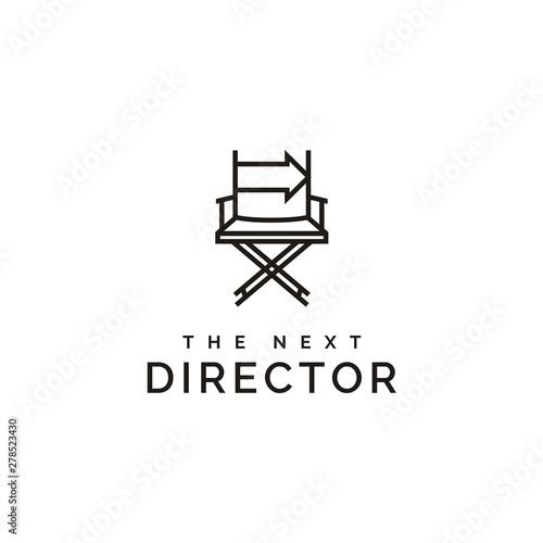 Obraz na plátne film director chair and arrow right logo design