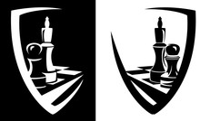King And Pawn Chess Pieces Inside Heraldic Shield - Sport Game Black And White Vector Emblem Design