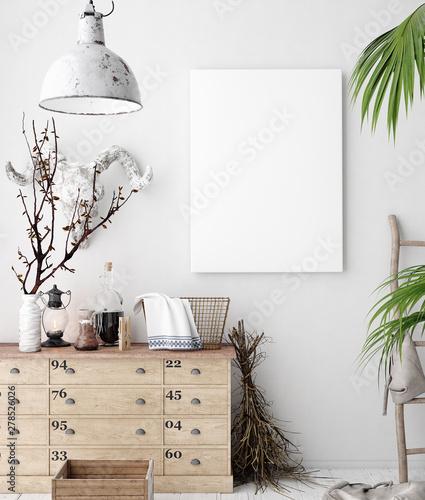 Fotografia  Mock-up poster frame in decorated room interior, Scandinavian style, 3d render