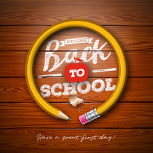 Back To School Design With Graphite Pencil And Typography Lettering On Vintage Wood Texture Background. Vector School Illustration For Greeting Card, Banner, Flyer, Invitation, Brochure Or Promotional