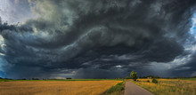 Storm Clouds With Shelf Cloud And Intense Rain
