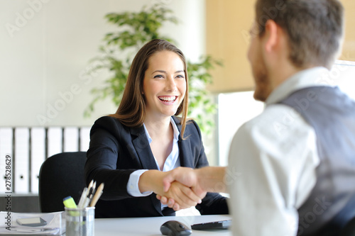 Fotomural  Businesspeople handshaking after deal or interview