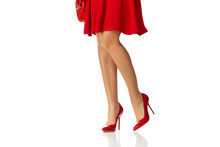 Woman In Red Dress And High He...