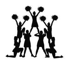 Cheerleader Dancers Figure Vector Silhouette Illustration Isolated. Cheer Leading Girl Sport Support. High School, College Cheer Leading Formation. Gymnastic Legs Apart Pose Perform. Energy Dance Fan.