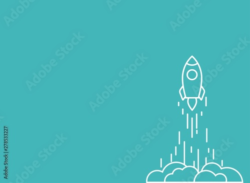 Printed kitchen splashbacks Castle Rocket line ship with fire and clouds. Isolated on powder blue. Flat linear vector illustration with flying shuttle.
