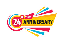 24 Th Birthday Banner Logo Design.  Twenty Four Years Anniversary Badge Emblem. Abstract Geometric Poster.