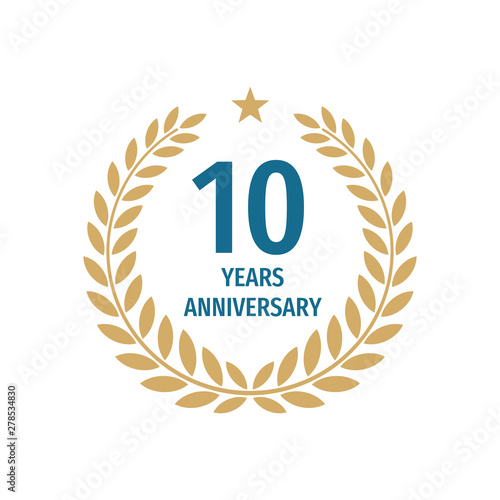 Photo 10 th years anniversary badge design with a laurel wreath