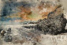 Digital Watercolour Painting Of Landscape Seascape Of Jagged And Rugged Rocks On Coastline