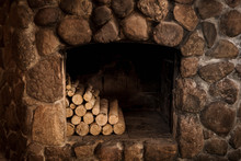 Stone Fireplace With Hearth An...
