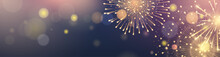 Horizontal Border With Golden Fireworks On Blue Background. Festive Lights For Design Of Website Headers, Banners And Flyers For Holiday Celebration. Vector Template With Effect Bokeh.