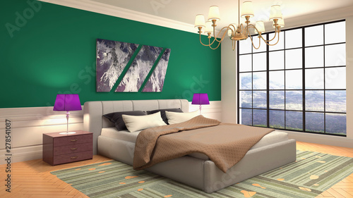 Bedroom interior. Bed. 3d illustration