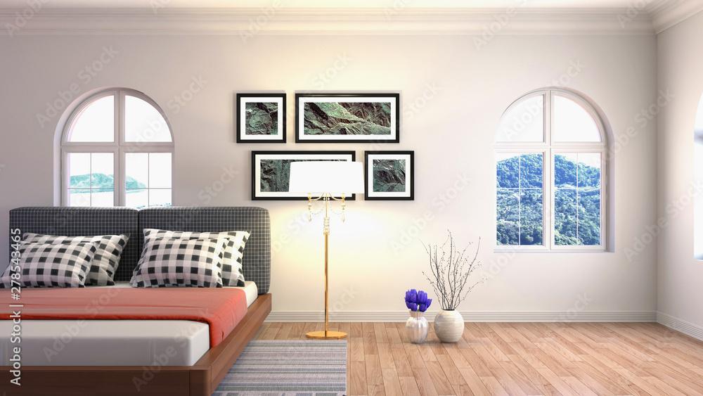 Fototapety, obrazy: Bedroom interior. Bed. 3d illustration