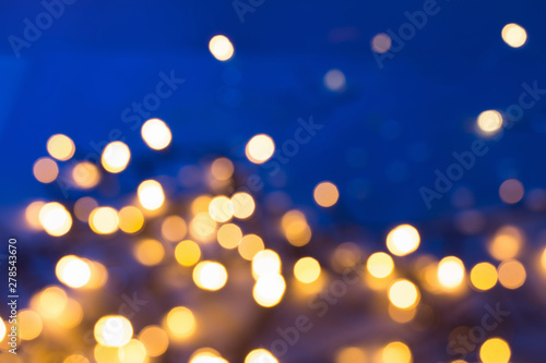 Fototapety, obrazy: blue and golden abstract bokeh background