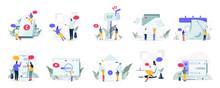 Communication And Media Illustration Concept. Modern Flat Design Concept Of Web Page Design For Website And Mobile Website.Vector Illustration EPS 10