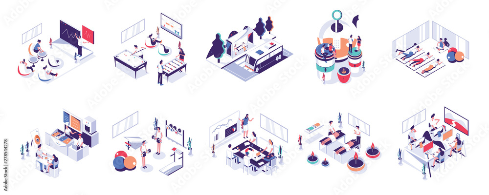 Fototapety, obrazy: Office People and Co-Working Space Illustration Set. Modern flat design concept for website and mobile.Vector illustration EPS 10