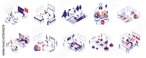 Photo  Office People and Co-Working Space Illustration Set
