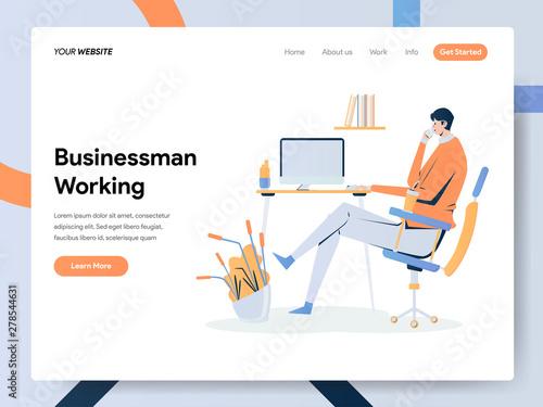Photo  Businessman Working on Desk Illustration Concept