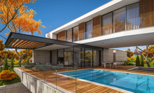 3d Rendering Of Modern Cozy House On The Hill With Garage And Pool For Sale Or Rent With Beautiful Landscaping On Background. Clear Sunny Autumn Day With Golden Leafs Anywhere