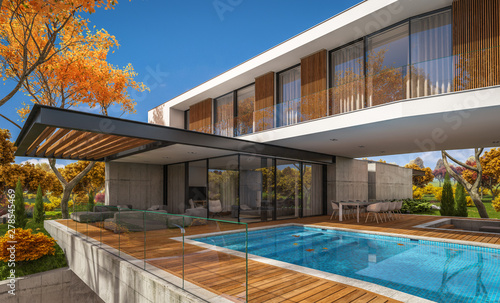 Foto  3d rendering of modern cozy house on the hill with garage and pool for sale or rent with beautiful landscaping on background