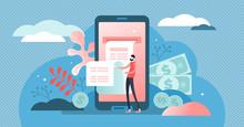 Digital Bill Vector Illustration. Flat Tiny Phone Wallet Persons Concept.