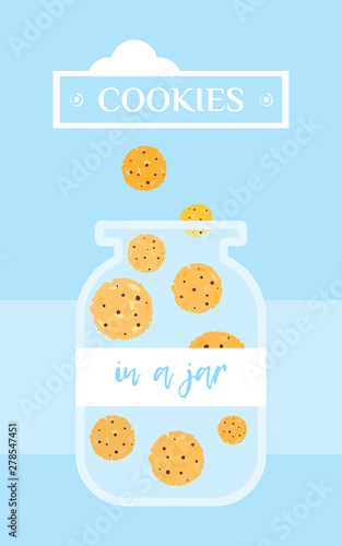 Canvas Print A bright vector banner with colorful cookies.