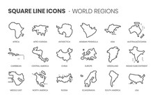 World Regions Related, Square Line Vector Icon Set For Applications And Website Development. The Icon Set Is Pixelperfect With 64x64 Grid. Crafted With Precision And Eye For Quality.