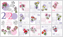 Floral Calendar 2020 With Hand...