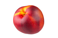 Ripe Peach Is Isolated On A White Background With The Pen Tool. The Whole Depth Of Field.
