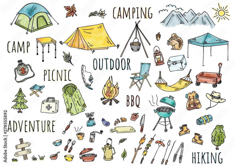 Fototapeta 手描きイラスト:キャンプ アウトドア 水彩カラー